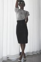thrift blouse - vintage from spain skirt - gianni versace glasses