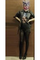 t-shirt - jacket - guess vintage shorts