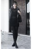 vintage dress - belt - purse - -