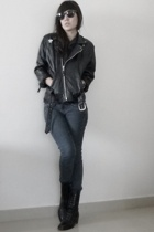 jacket - boots - jeans