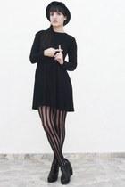 black Zara dress - black tights - black Forever 21 shoes - black hat