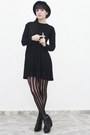 Black-zara-dress-black-tights-black-forever-21-shoes-black-hat