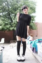 black Zara dress - black socks - white creepers