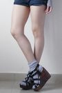 Gray-blouse-gray-socks-blue-shorts-black-shoes