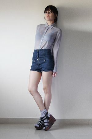 gray blouse - gray socks - blue shorts - black shoes