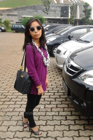 black glasses - magenta top dress top