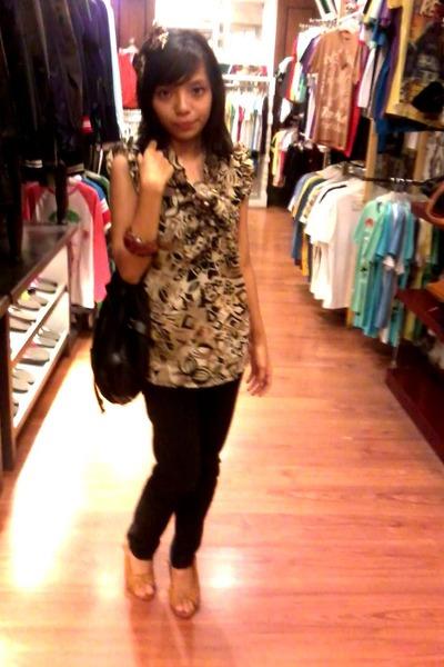 brown blouse - brown thyo pernik accessories - black pants - beige shoes - brown