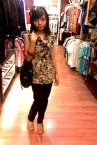 brown blouse - brown thyo pernik accessories - black pants - beige shoes - brown