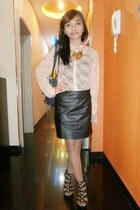 nude Forever 21 shirt - black rebelchic skirt - black Charles & Keith heels