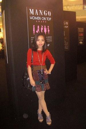 black bag - bronze belt - ruby red Forever 21 skirt - red blouse - turquoise blu