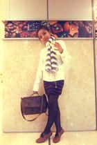 light purple scarf - light brown Debenhams shoes - white menswear sweater