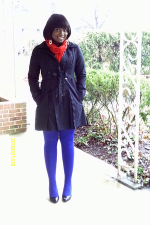black XOXO coat - red thrifted scarf - blue Anne Klein stockings