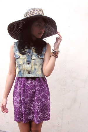 brown hat - blue Sals Seasonable top - purple Forever 21 top - brown accessories
