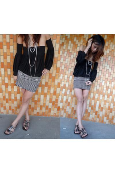 vintage blouse - bysi skirt - Topshop accessories - Vivi shoes