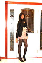 black jou jou jacket - pink xhilaration dress - black Forever 21 stockings - bla