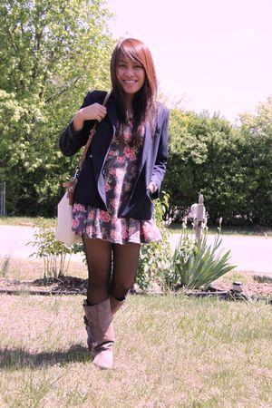 black blazer - brown boots - dress