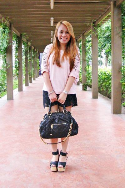 CMG wedges - Zara sweater - Marc Jacobs bag - Zara shorts