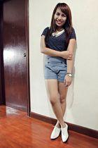 blue top - blue shorts - white Topshop shoes
