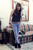 black Zara top - jeans - black shoes - brown belt