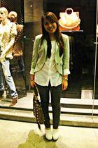 gray Zara blazer - white Zara top - gray Zara pants - white Topshop shoes - brow
