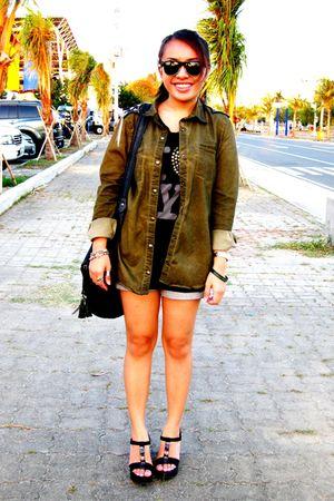 green Zara blazer - black Topshop top - Zara shorts - black Charles & Keith shoe
