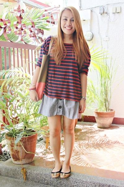Ross skirt - Zara shirt - hongkong bag - tory burch flats