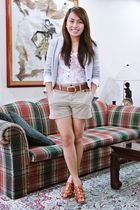brown Michael Kors shoes - gray Zara blazer - brown Zara shorts