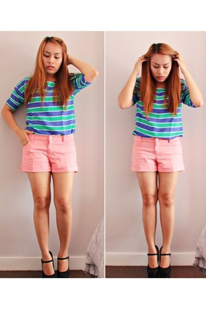 pink Forever 21 shorts - green striped Zara top - navy Forever 21 heels