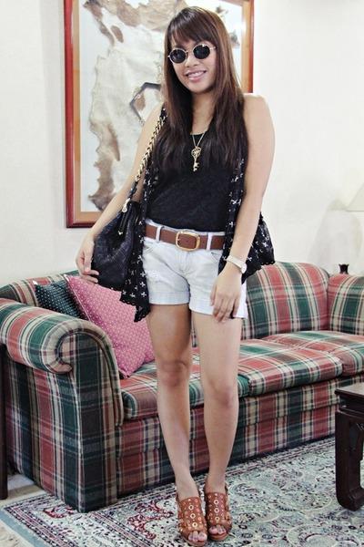 blue Pink Manila vest - black Mango top - blue Zara shorts - brown H&M belt - br