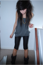 gray vivienne westwood boots - gray made myself dress - black Topshop leggings
