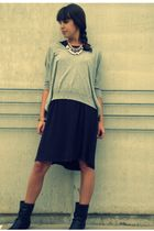 gray Forever 21 sweater - purple Gap dress - black Shoe Department boots - pink