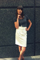 black H&M shirt - white Forever 21 skirt - brown Forever 21 shoes - silver Ameri