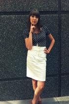 black H&M shirt - white Forever 21 skirt - brown Forever 21 shoes - silver Ameri