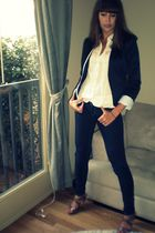 blue H&M blazer - blue Forever 21 jeans - beige Steve Madden shoes - white Old N