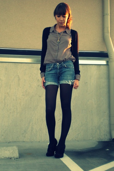 brown Forever 21 top - blue Arden B shorts - black Target tights - black Forever