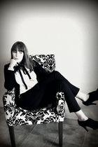 white Loft blouse - black Forever 21 cardigan - black Arden B pants - black Stev