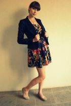 blue H&M blazer - blue Forever 21 dress - beige Old Navy shoes - gold Forever 21