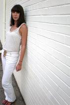 white Loft shirt - white Express pants - brown TJ Max shoes