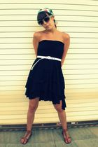 black Macys dress - brown TJ Max shoes - white Forever 21 belt - gray Urban Outf