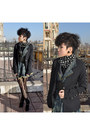 Black-studded-blazer-lace-tights-polka-dots-scarf-black-studded-christian-
