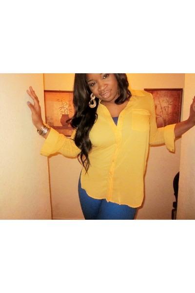 blouse Forever 21 shirt - under garment Forever 21 shirt - jeans DOTS pants