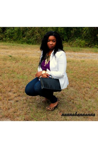 navy skinny Forever21 jeans - white Reba blazer