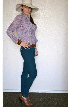 violet thrifted vintage blouse - teal Just Usa jeans