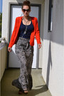 Red-ovi-jacket-black-unknown-brand-skirt-navy-tank-top-ribbed-zara-t-shirt