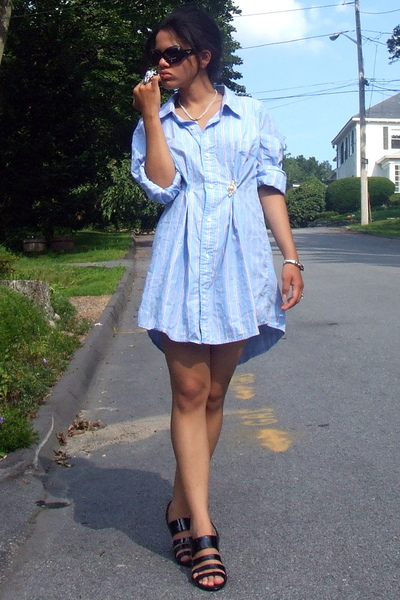 Emporio Armanii sunglasses - Remodeled dress - vintage necklace - Sofft shoes -