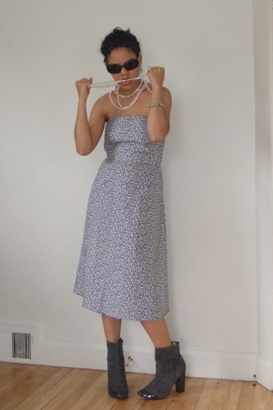 NY&amp;Co dress - Nine West shoes - Marc Jacobs sunglasses - Akoya necklace - consig