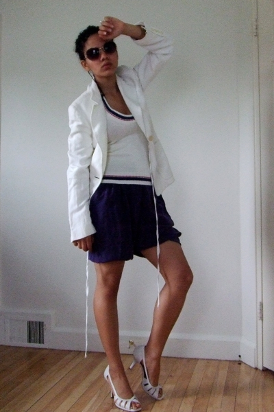 white long ann demeulemeester blazer - white Anne Klein shoes