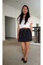 White-zara-shirt-navy-anchor-printed-skirt-dark-brown-oxford-rabbit-hk-flats