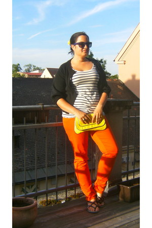 carrot orange H&M pants - yellow H&M bag - deep purple H&M glasses