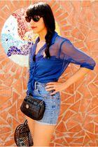 blue H&M shirt - black H&M shirt - blue vintage shorts - black Zara accessories